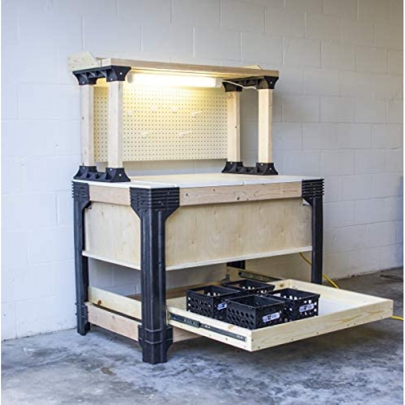 Workbenches Custom Work Bench and Shelving Storage System, Black