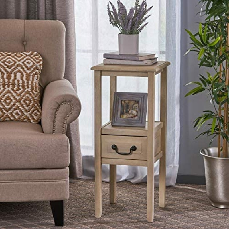 Christopher Knight Home Rivera Acacia Wood Accent Table, Brushed Morning Mist