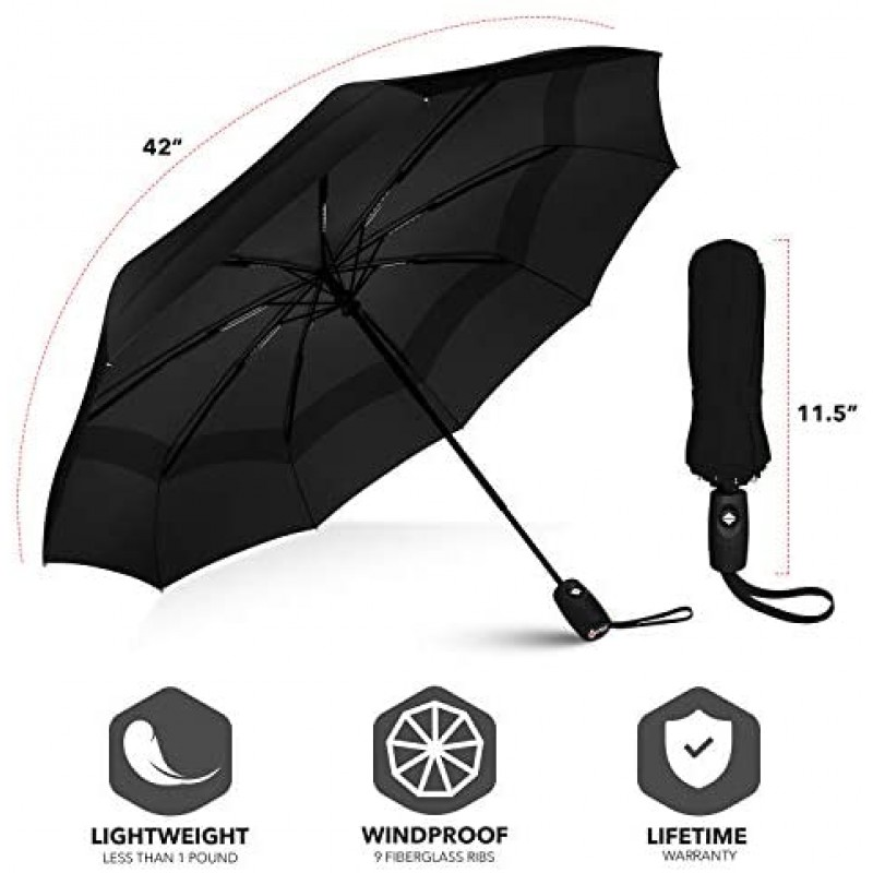 Umbrellas Double Vented Windproof Automatic Travel Umbrellas with Teflon, Black