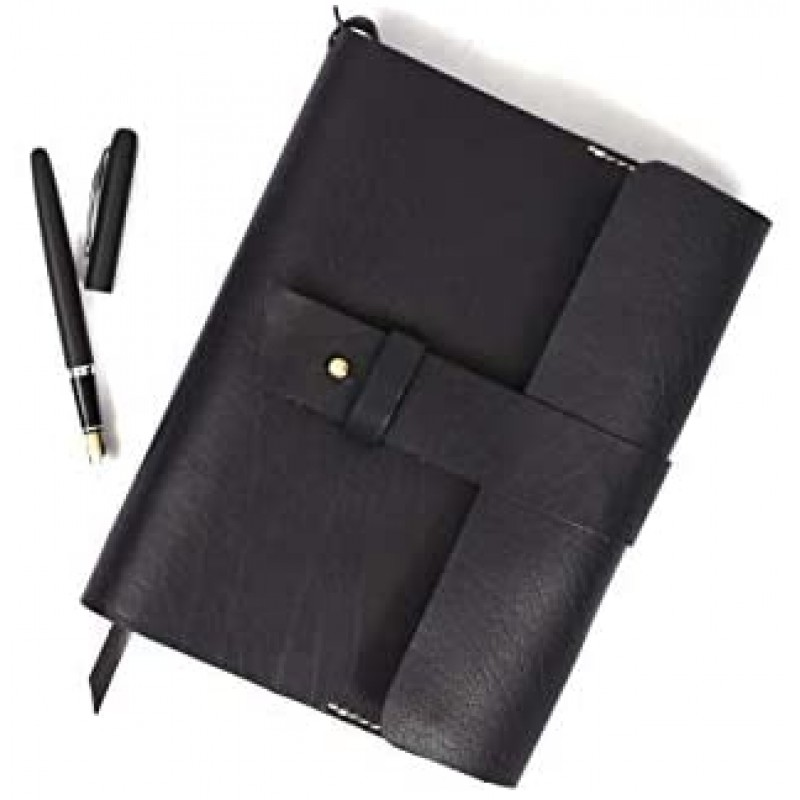 Aaron Leather Journal Refillable Writing Notebook-Traveler's Notebook 200 pages 7.5 X 5.5 By Aaron Leather Goods (Refill)