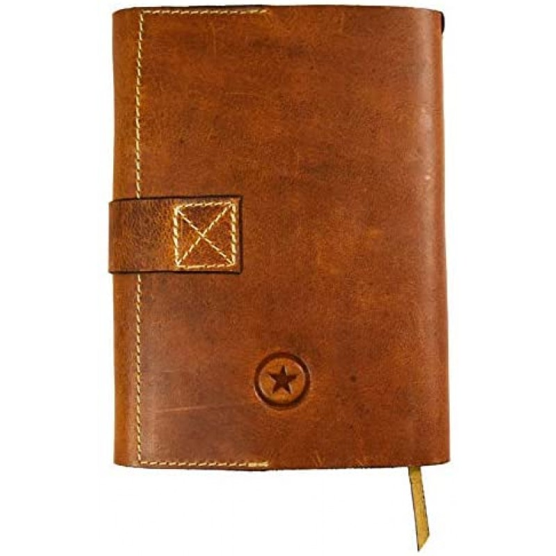 Aaron Leather Journal Refillable Writing Notebook-Traveler's Notebook 200 pages 7.5 X 5.5 By Aaron Leather Goods (Cognac)