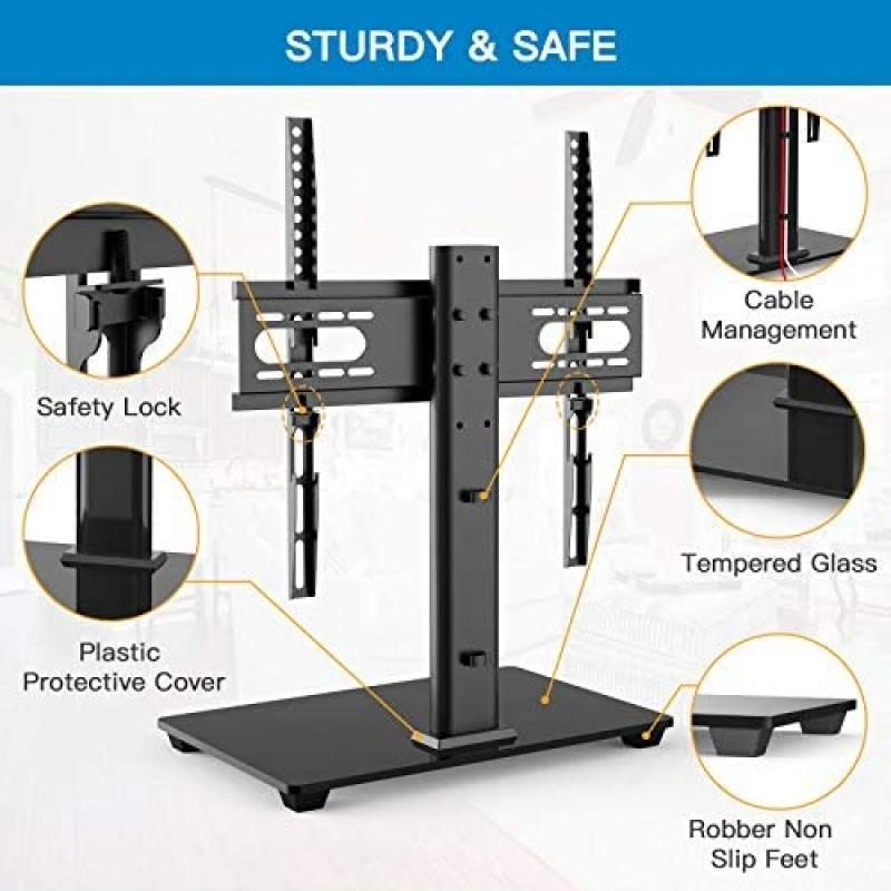 television stands [furniture]  Universal TV Stand - Table Top TV Stand for 37-55 inch LCD LED TVs - Height Adjustable TV Base Stand with Tempered Glass Base & Wire Management, VESA 400x400mm