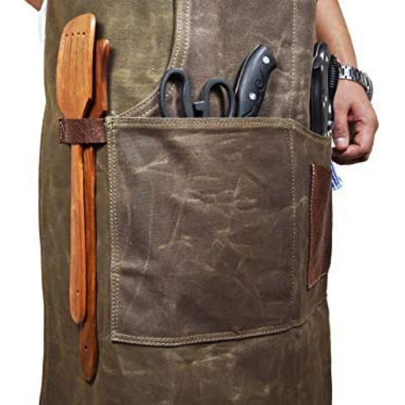 One Size Fits Utility Apron | Adjustable Cross-Back Straps | Multi-Use Shop Apron With Tool Pockets By Aaron Leather (Canvas - Green)