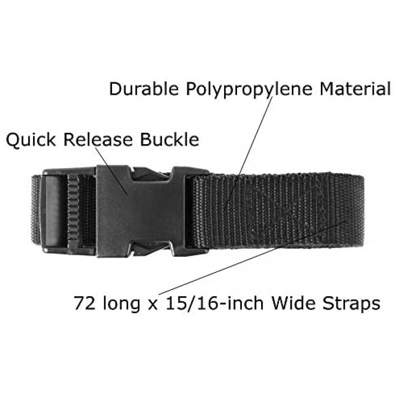 straps  72-Inch Utility Strap with Quick-Release Buckle, Black, 6-Pack