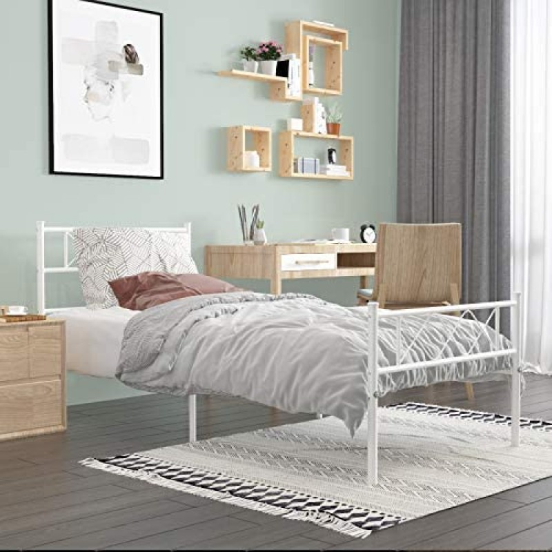Beds  Metal Platform Bed Frame with Two Headboards Mattress Foundation/Slat Support/No Box Spring Needed, Twin Black