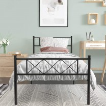 Beds  Metal Platform Bed Frame with Two Headboards...