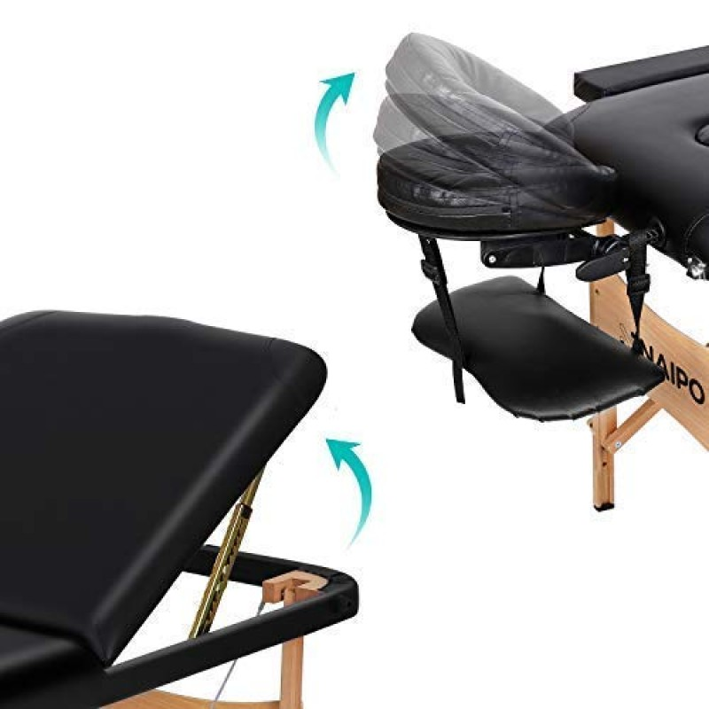 Massage tables Portable Massage Table Professional Adjustable Folding Bed with 3 Sections Wooden Frame Ergonomic Headrest and Carrying Bag for Therapy Tattoo Salon Spa Facial Treatment
