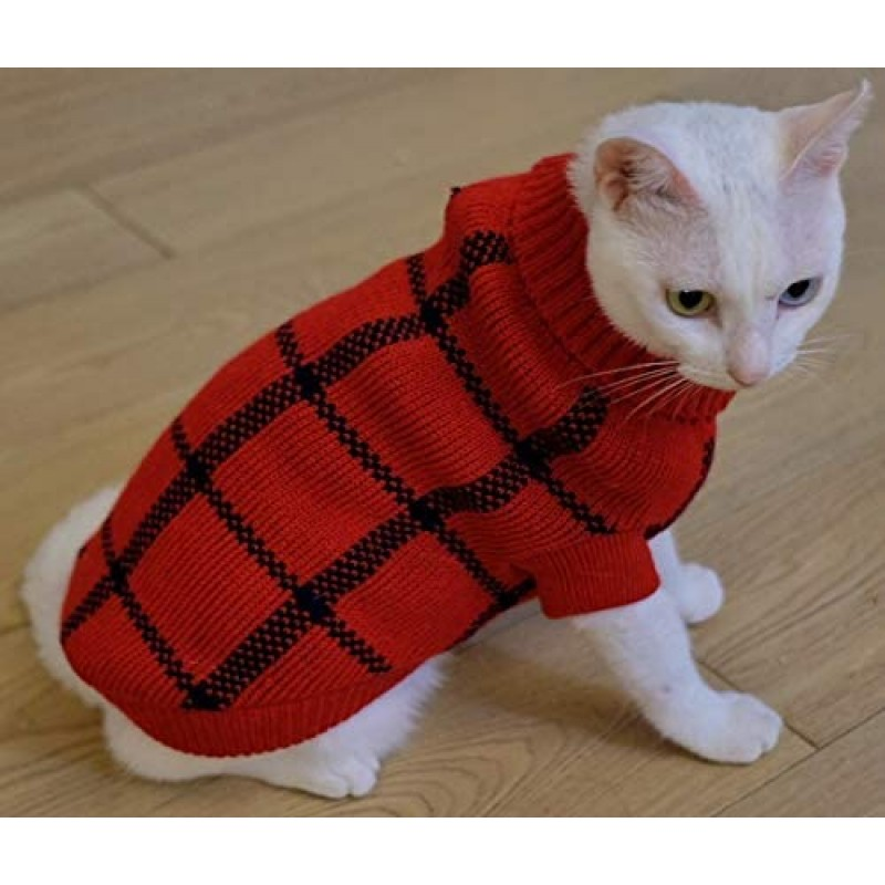 Coats for cats Turtleneck Dog Argyle Sweater for Small Dogs Cat