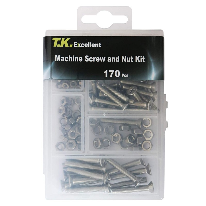 hardware, namely, nuts  Machine Screw and Hex Nut 304 Stainless Steel Assortment Kit,170 Pcs
