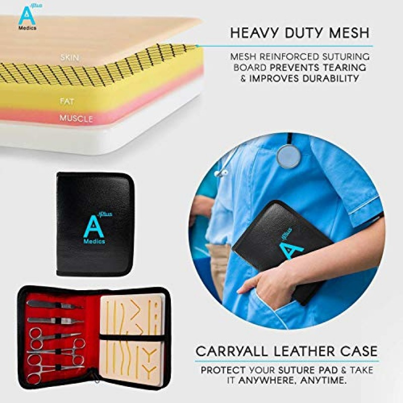 Suture materials Complete Suture Practice Kit for Medical Students w/ How-To Suture HD Video Course, Suture Training Manual & Carryall Case. All-in-One A Plus Medics kit incl. suture practice pad. (Education Use Only)