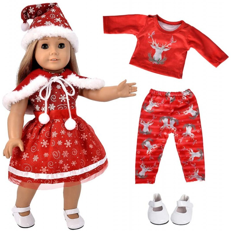 Dolls for Christmas  5pc Christmas Clothes Dress w...