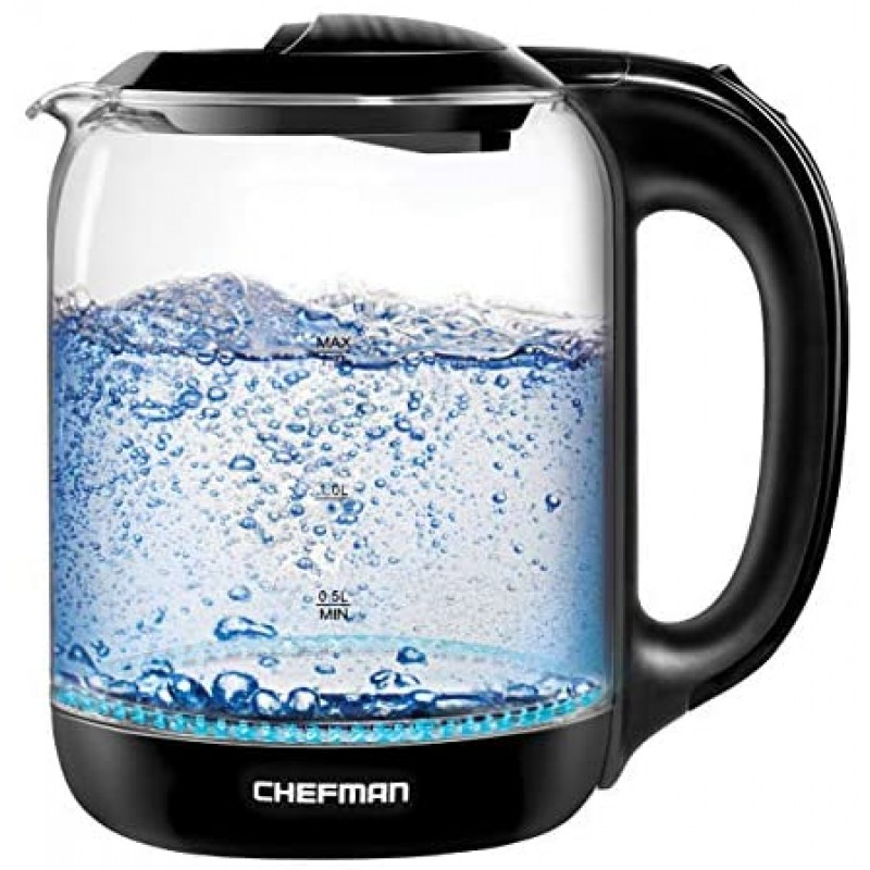 Chefman No. 1 Kettle in U.S. Fast Heating Hot Water Boiler, Tea Maker w/One Touch Operation, Boils 7 Cups, Separates from Swivel Base for Cordless Pouring