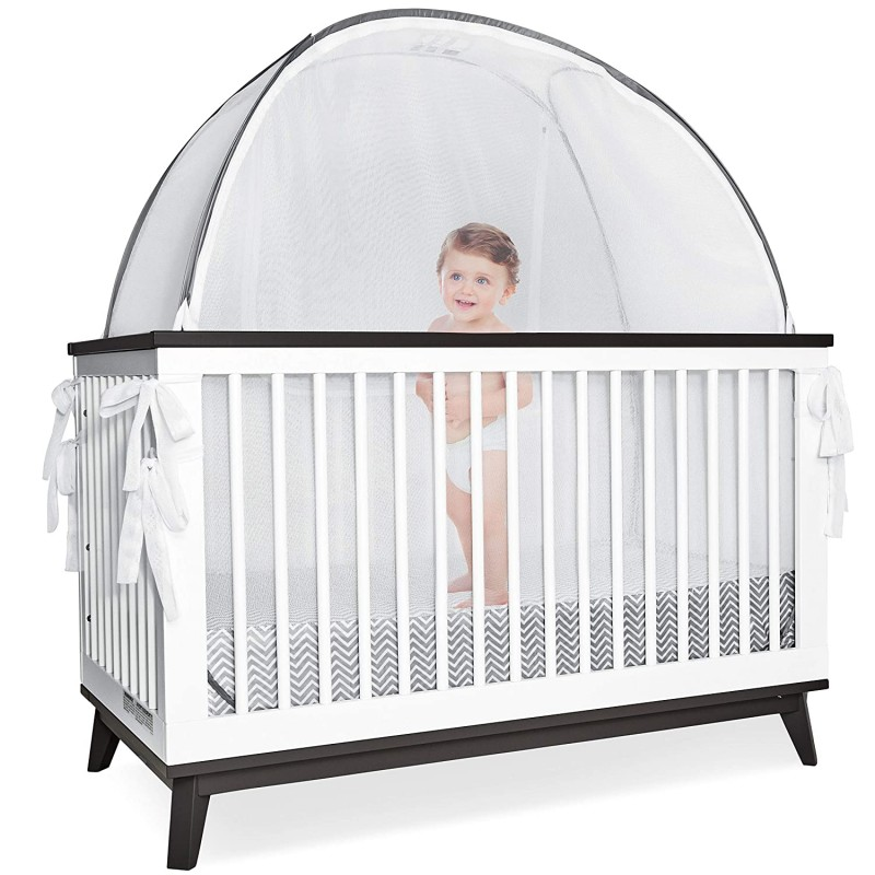 Crib canopies Grey Canopy Cover -Safety Pop Up Ten...