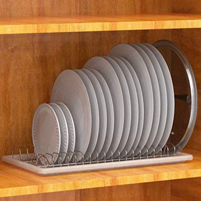 Dish cabinets Simple Houseware Plate Drying Rack with Drainboard, Chrome