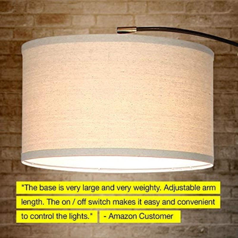 Arc lamps - Contemporary Arc Floor Lamp w. Marble Base - Over The Couch Hanging Light On Arching Pole - Modern Living Room Lighting Matches Decor & Gets Compliments - Black