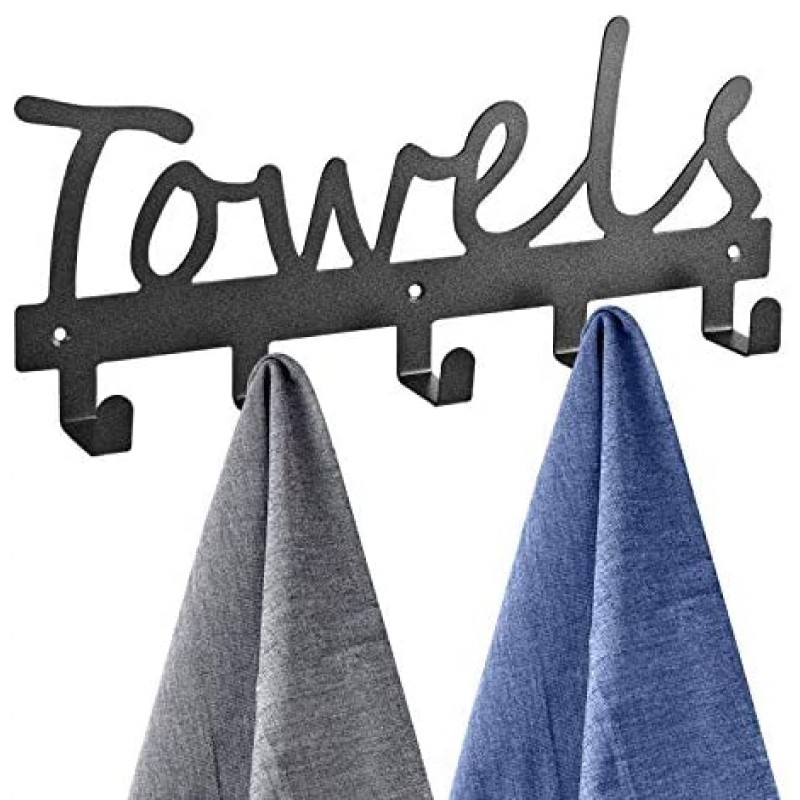 Towel racks Towel Racks 5 Hooks Black Sandblasted Robe Hooks Wall Mount Towel Holder Black Metal Towel Racks Rustproof and Waterproof for Kitchen Storage Organizer Rack, Bathroom Towels, Robes, Clothing