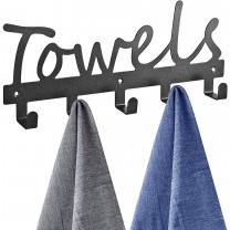 Towel racks Towel Racks 5 Hooks Black Sandblasted ...