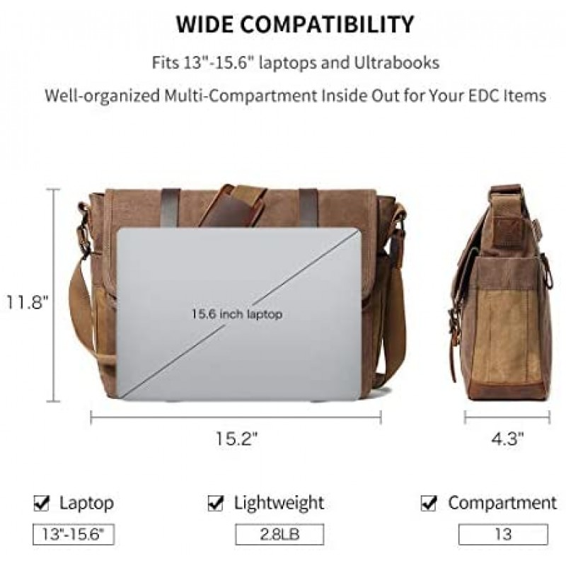 Satchels Messenger Bag for Men 15.6 Inch Rugged Waxed Canvas Laptop Bag Waterproof Genuine Leather Briefcase Satchel Bags for Men Large Work Computer Bag, Brown