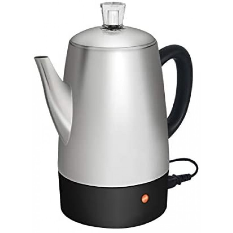Electric coffee brewers  Electric Coffee Percolator   Silver Body with Stainless Steel Lids Coffee Maker   Percolator Electric Pot - 10 Cups (Silver)
