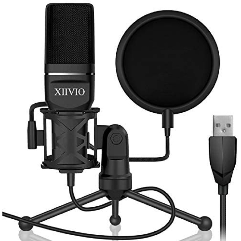 Web consoles USB Gaming Condenser Microphone,XIIVIO Plug&Play Computer PC Microphone Mic with Tripod Stand and Pop Filter for Mac/Windows,Recording Voice Over, Streaming Twitch/Podcasting/YouTube