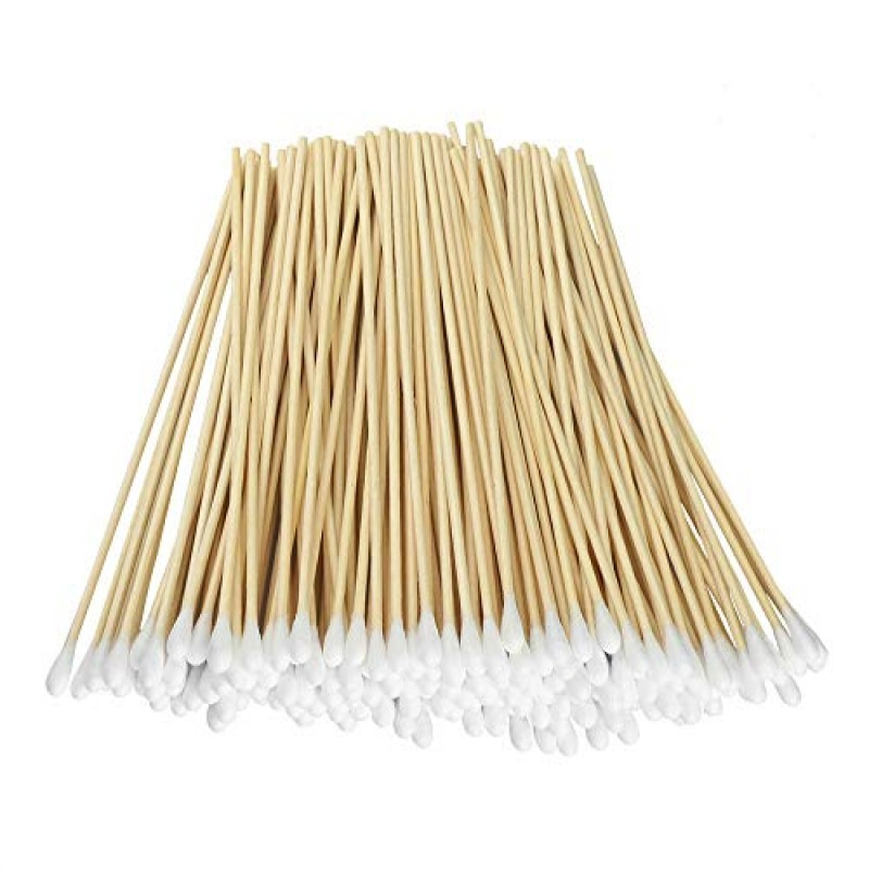 """Cotton buds for cosmetic purposes 200 Pcs Count 6"""" Inch Long Cotton Swabs with Wooden Handles Cotton Tipped Applicator, Cleaning With Wood Handle for Oil Makeup Gun Applicators, Eye Ears Eyeshadow Brush and Remover Tool."""