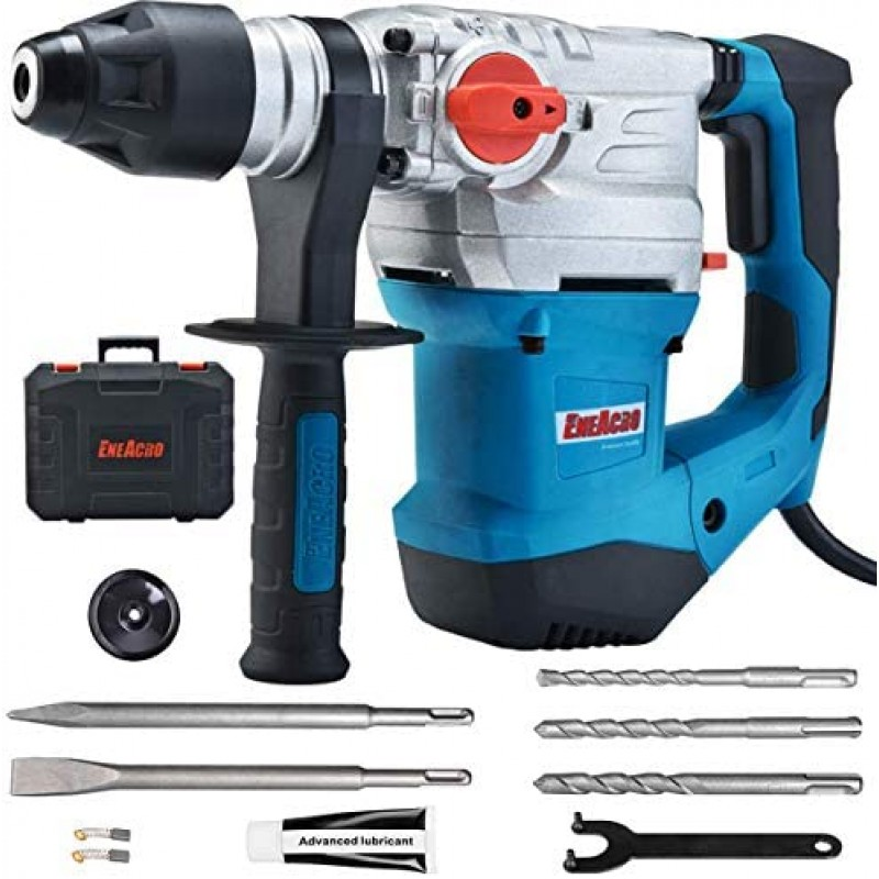 Hand-operated percussion hammer drills  1-1/4 Inch SDS-Plus 13 Amp Heavy Duty Rotary Hammer Drill, Safety Clutch 4 Functions with Vibration Control Including Grease, Chisels and Drill Bits with Case