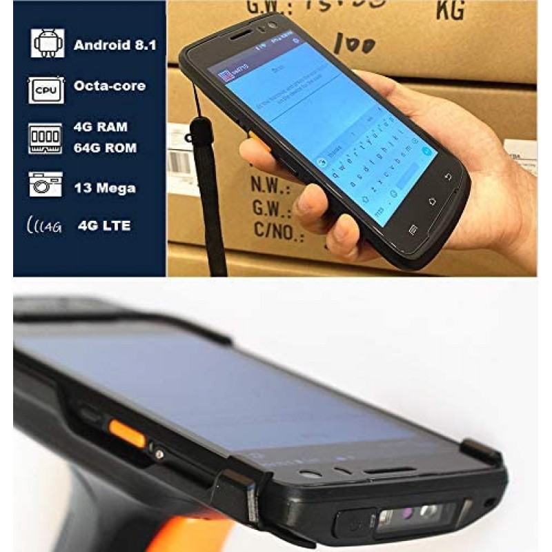 Mobile computers Android Handheld Data Terminal Mobile Computer with 2D PDF417 Zebra Barcode Scanner 3G 4G WiFi BT GPS, Ergonomic Pistol Grip for Warehouse Inventory