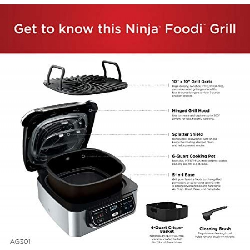 "Ninja Foodi AG301 5-in-1 Indoor Electric Countertop 4-Quart Air Fryer, Roast, Bake, Dehydrate, and Cyclonic Grilling Technology, 10"" x 10"", Black/Silver"