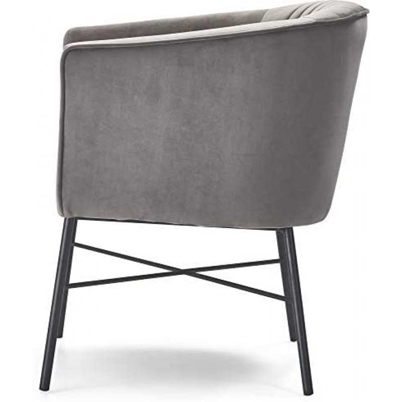 Adore Decor Leone Upholstered Accent Chair Velvet Tufted Comfy Back Cushion Club Armchair, Modern Living Room Furniture for Small Spaces, Comfortable Gray