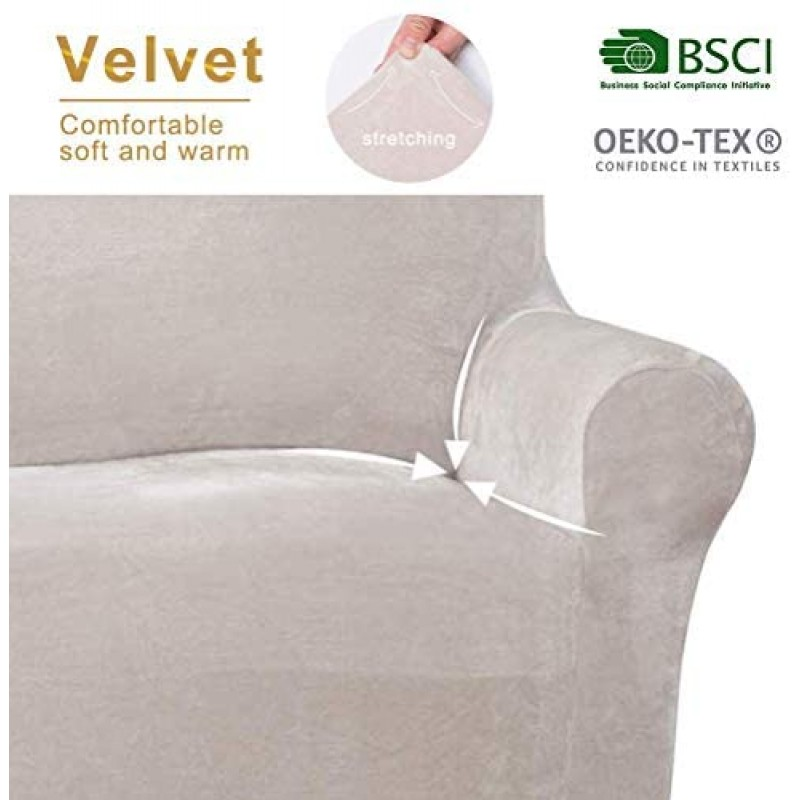 Sofa Slipcovers Premium Velvet Stretch, Spandex Beige Sofa Cover with Velvet Plush Fabric for 3 Cushion Couch, High-Stretch 3 Piece Cover Protector and Couch Cover for 3 Cushion Couch