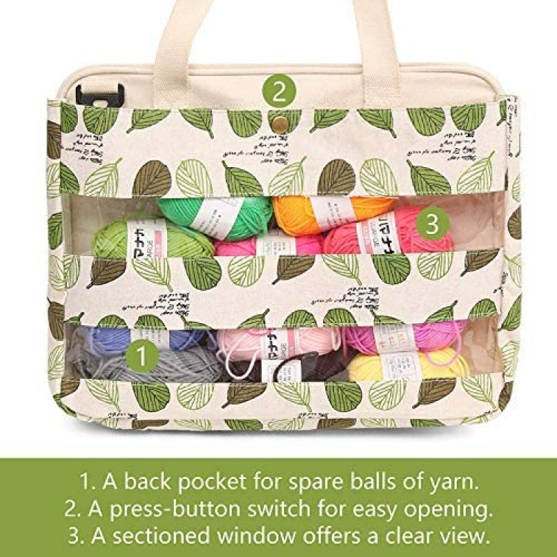 Knitting bags for carrying and holding knitting supplies  Knitting Tote Bag Yarn Storage Bag for Carrying Projects, Knitting Needles, Crochet Hooks and Other Accessories