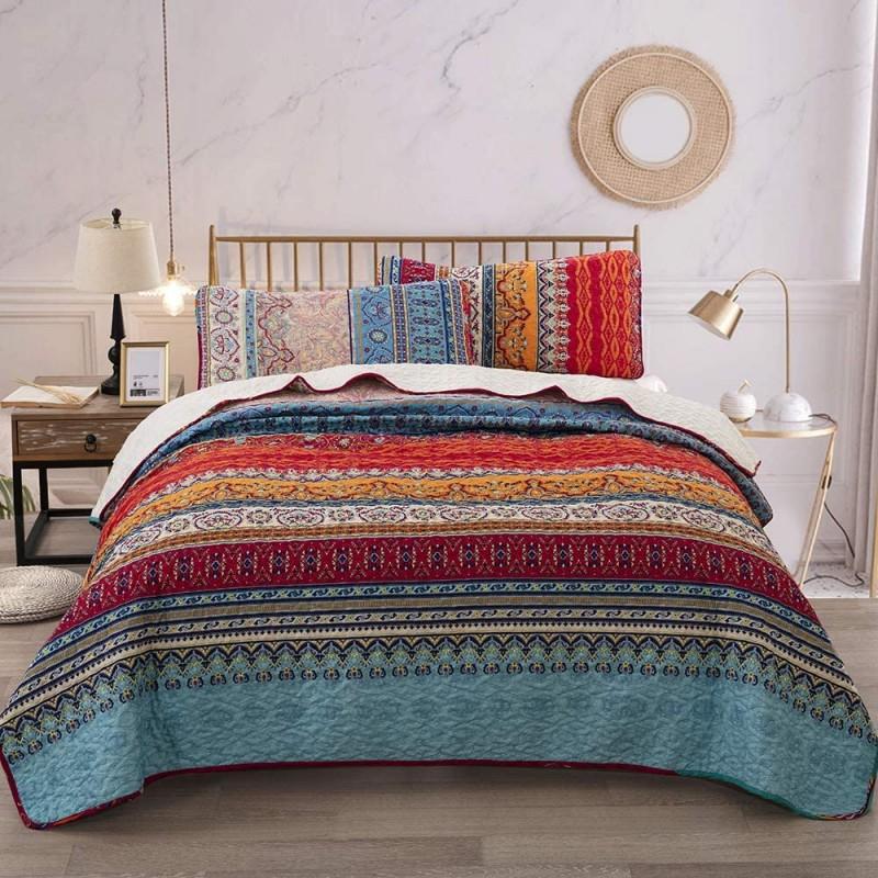 Bedspreads Bohemian Quilt Set Queen, Boho Striped ...