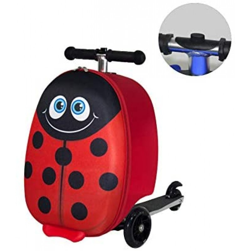 Motorized suitcases Lightweight Carry-on Scooter Suitcase for Girls - Kids Luggage with LED Light Up Wheels - Ladybug