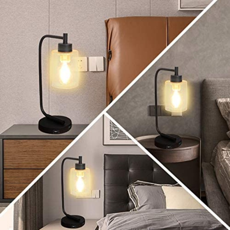 Innqoo Touch Control Table Lamp, 3 Way Dimmable Industrial Table Lamp with USB Charging Ports, Modern Nightstand Lamp, Metal Bedside Lamp for Living Room, Bedroom, Dorm (T45 Vintage Bulb Included)