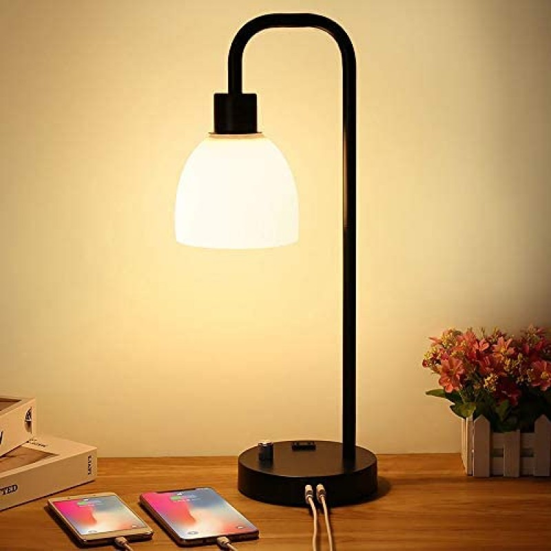 Zermurd Industrial Table Lamp, Stepless Dimmable Modern Bedside Lamp with Two USB Ports and AC Outlet Opal Glass Shade Black Vintage Nightstand Lamp for Bedroom Living Room Office, 7W Bulb Included