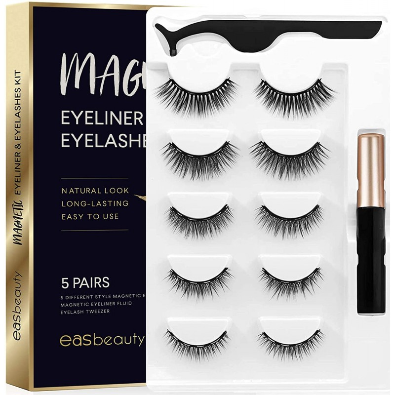 False eyelashes 2020 Upgraded Magnetic Eyeliner and Eyelashes Kit, Magnetic Eyelashes with Eyeliner, False Lashes 5 Pairs with Tweezers, Easy to Wear