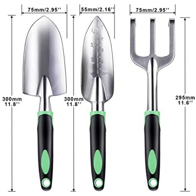 ZUZUAN Garden Tool Set, 3 Pack Garden Hand Shovels Aluminum Alloy Garden Trowels with Ergonomic Rubberized Non-Slip Grip, Included Trowel, Transplant Trowel and Cultivator Hand Rake