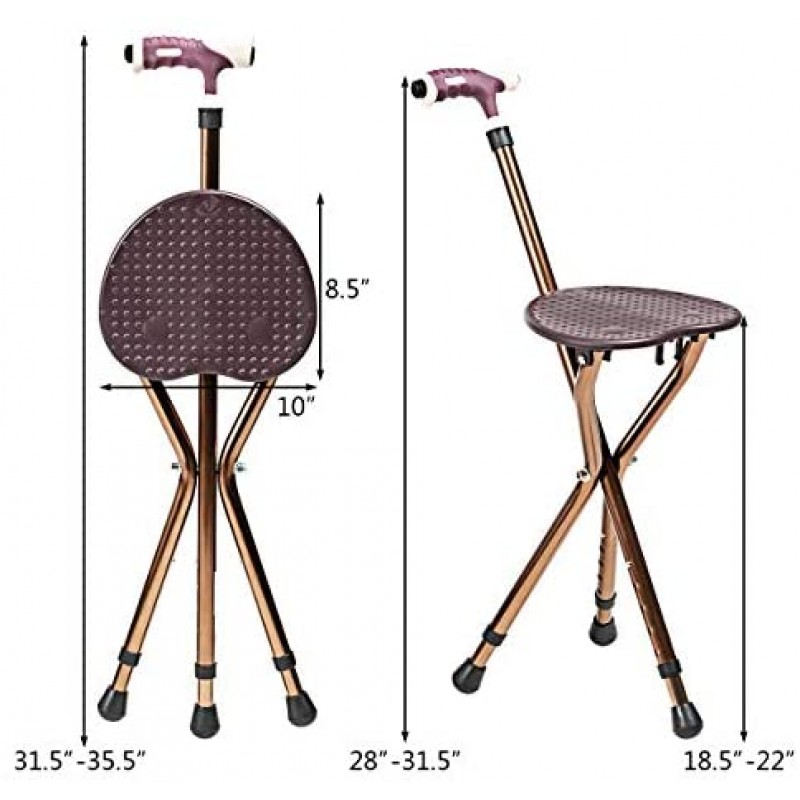 Walking stick seats Adjustable Folding Cane Seat, Aluminum Alloy Crutch Chair with LED Light and Retractable 3 Legs, Outdoor Travel Ads, Anti-Slip Lightweight Walking Stick for Seniors (Coffee)