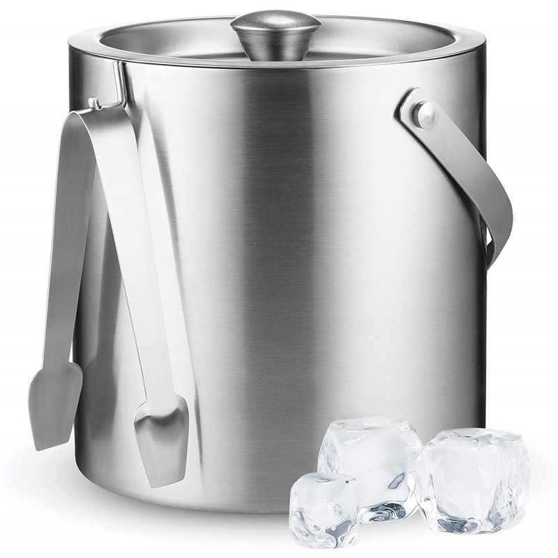 Double-Wall Stainless Steel Insulated Ice Bucket W...