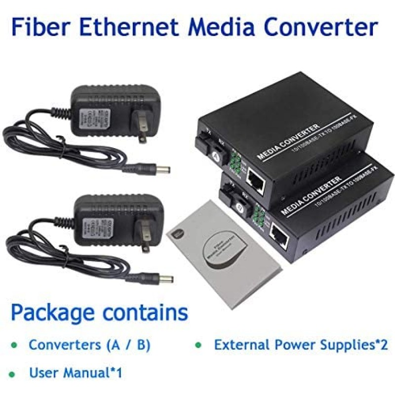 Ethernet transceivers Fiber Ethernet Media Converter, Single-Mode 10/100Base-TX to 100Base-FX, RJ45 to SC, Fiber Transceiver Up to 25KM (1 Pair)