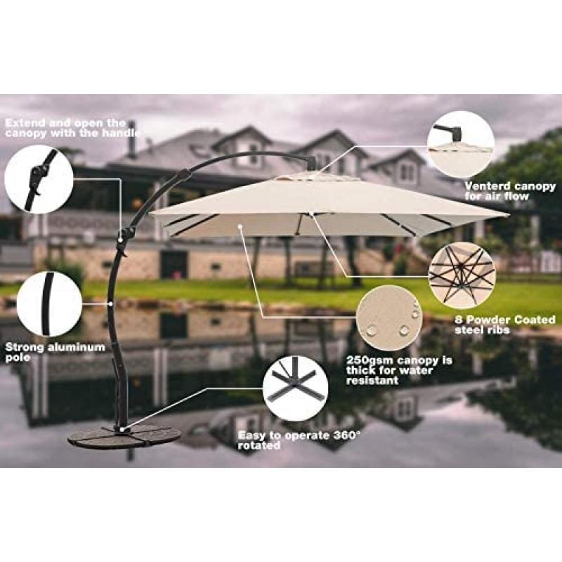 Courtyard umbrella 10ft Classic Offset Patio Umbrella, 360° Rotated Cantilever Umbrella,Aluminum Hanging Market Umbrella with Tilt, Courtyard with Cross Base for Outdoor Backyard, Garden, Pool & Beach, Beige
