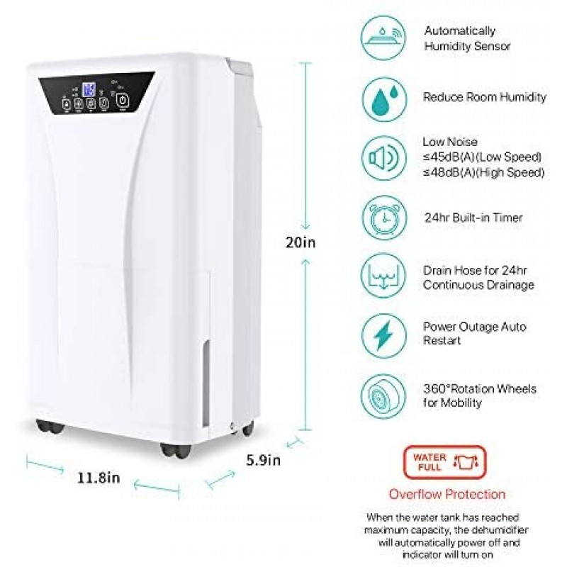 Dehumidifiers 2500 Sq. Ft Dehumidifier for Home and Basements with Drain Hose