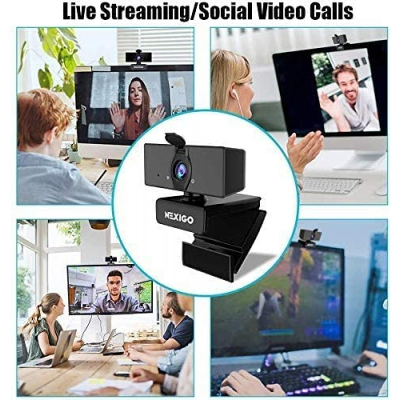 Computer cameras 1080P Business Webcam with Dual Microphone & Privacy Cover, 2021 [Upgraded] NexiGo USB FHD Web Computer Camera, Plug and Play, for Zoom/Skype/Teams Online Teaching, Laptop MAC PC Desktop