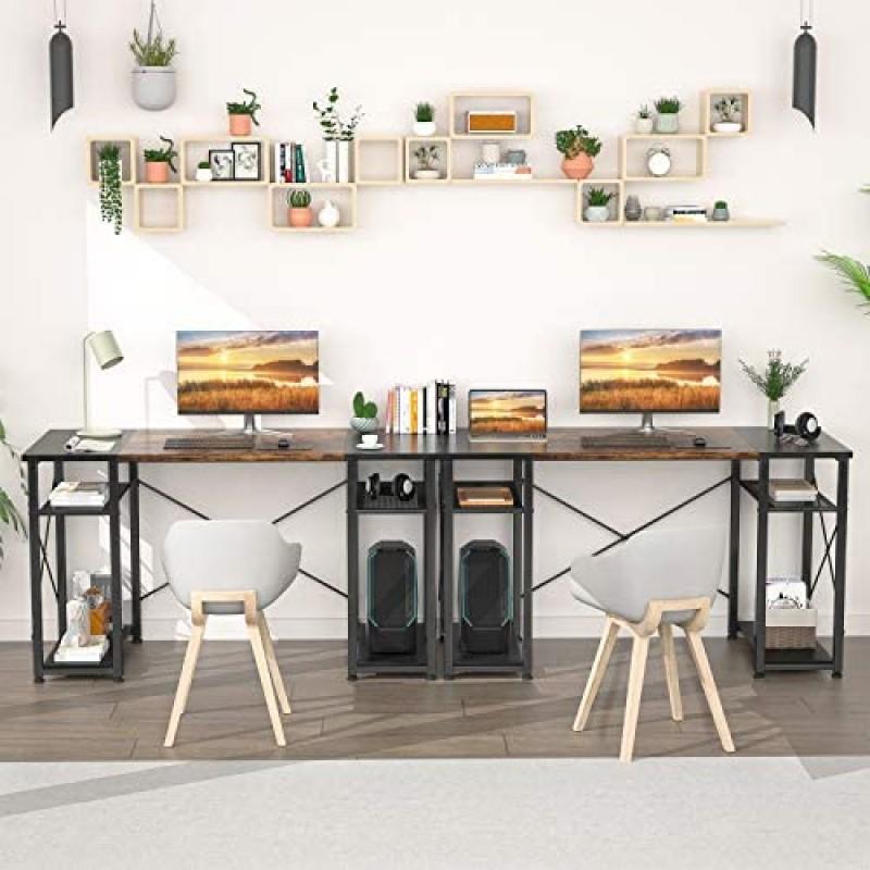 "Desks Computer Desk 47"" Home Office Writing Desk with Storage Shelf, Industrial Office Desk with 4-Tier Shelves, Modern Splice Board Wooden PC Study Desk, Rustic and Black"