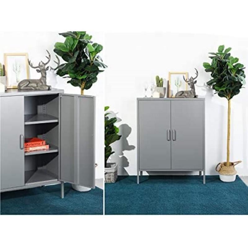 Metal cabinets Double Door Locker Metal Cabinet with 3 Shelves for Living Room/Bedroom/Office/Kitchen Cupboard