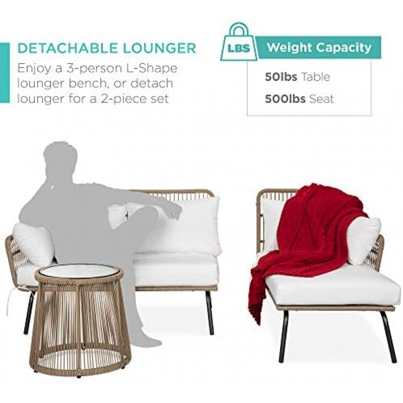 Furniture Best Choice Products Outdoor Rope Woven Sectional Patio Furniture L-Shaped Conversation Sofa Set for Backyard, Porch w/Thick Cushions, Detachable Lounger, Side Table