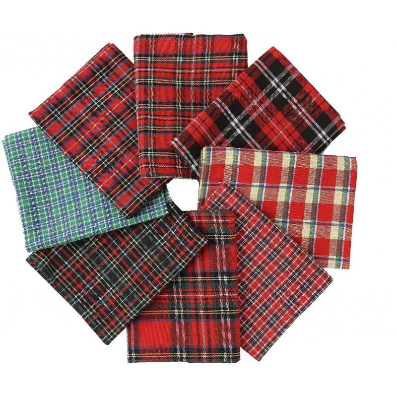 Cotton Fabric Tartan Christmas Patterns - Selectio...