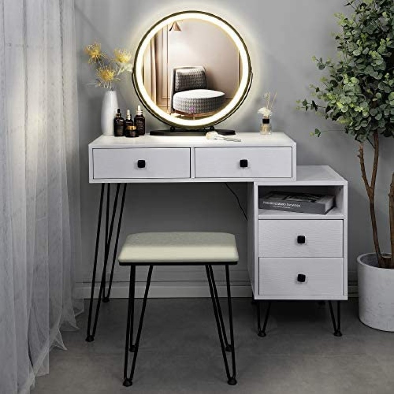 Dressers [dressing tables] Table Set Makeup Vanity Dressing Table with 3 Colors Lighted Mirror, 1 Storage Cabinet & 2 Drawers, Dressing Makeup Table with Cushioned Stool, for Girl, Women, Dresser Desk for Bedroom, White