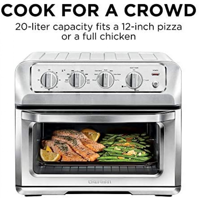 Chefman 20L Air Fryer Toaster Oven, 7-in-1 Combo w/Convection Bake & Broil, Auto Shut-Off, 60 Min Timer, Fry Oil-Free, Nonstick Interior, Accessories & Cookbook Included, Stainless Steel