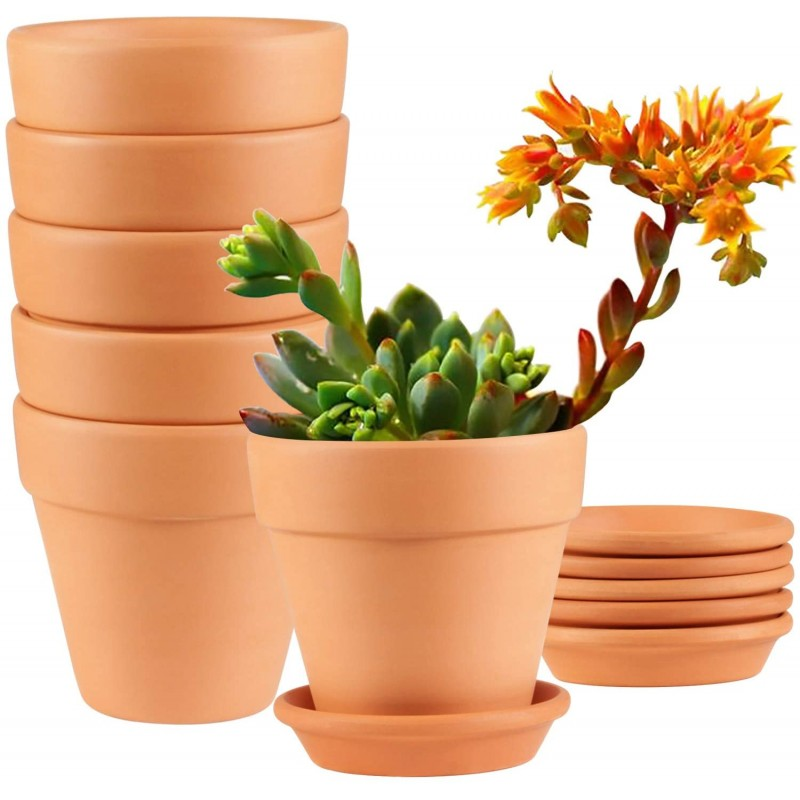 Clay Pots,  4 inch Clay Pots for Plants with Sauce...